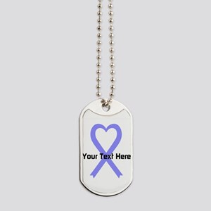 Personalized Periwinkle Ribbon Heart Dog Tags