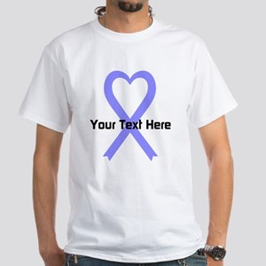 Personalized Periwinkle Ribbon Heart White T-Shirt