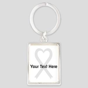 Personalized Pearl Ribbon Heart Portrait Keychain