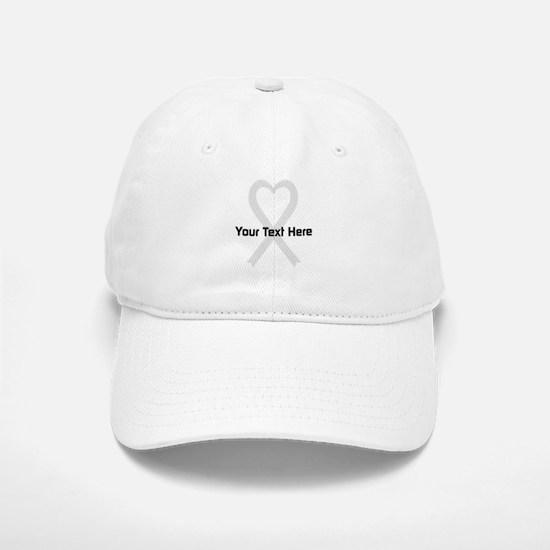 Personalized Pearl Ribbon Heart Baseball Baseball Cap