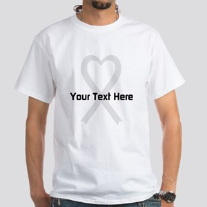 Personalized Pearl Ribbon Heart White T-Shirt