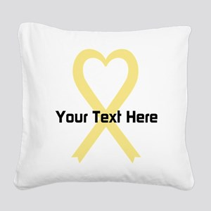 Personalized Pale Yellow Ribb Square Canvas Pillow