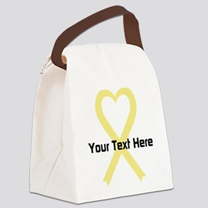 Personalized Pale Yellow Ribbon H Canvas Lunch Bag