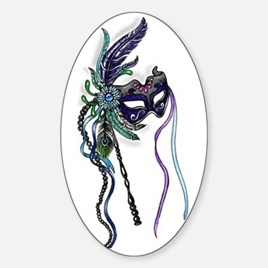 Decorative Mardi Gras Mask Sticker (Oval)