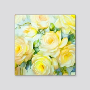 "Shabby Chic Yellow Square Sticker 3"" x 3"""