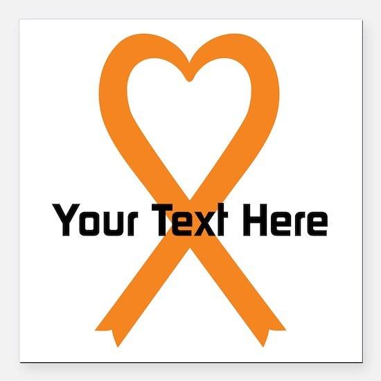 "Personalized Orange Ribb Square Car Magnet 3"" x 3"""