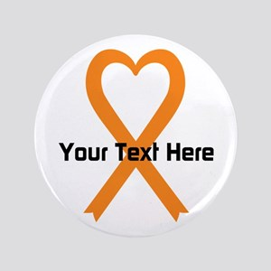 "Personalized Orange Ribbon H 3.5"" Button"