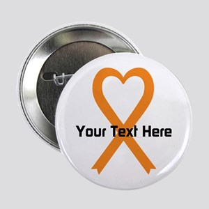 "Personalized Orange Ribbon 2.25"" Button"