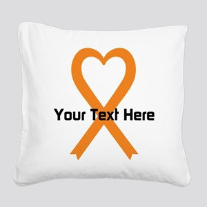 Personalized Orange Ribbon He Square Canvas Pillow