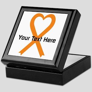 Personalized Orange Ribbon Heart Keepsake Box