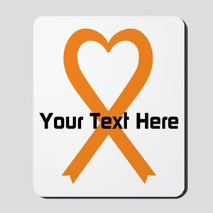 Personalized Orange Ribbon Heart Mousepad