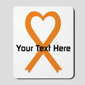 Personalized Orange Ribbon Heart Mousepad