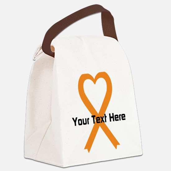 Personalized Orange Ribbon Heart Canvas Lunch Bag