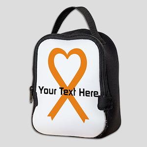 Personalized Orange Ribbon Hear Neoprene Lunch Bag