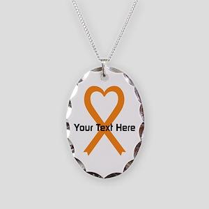 Personalized Orange Ribbon Hea Necklace Oval Charm