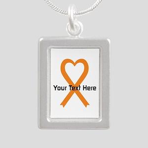 Personalized Orange Ribb Silver Portrait Necklace