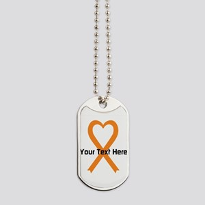 Personalized Orange Ribbon Heart Dog Tags