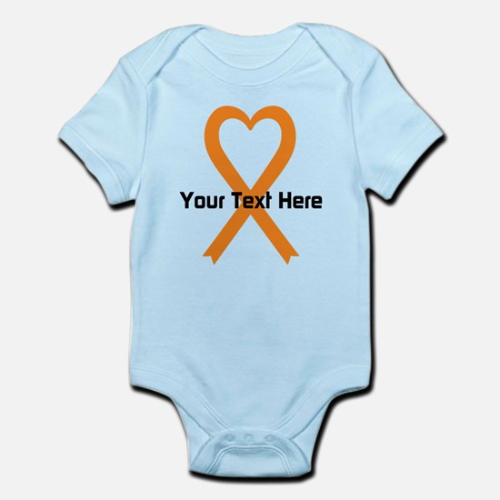 Personalized Orange Ribbon Heart Infant Bodysuit