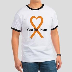 Personalized Orange Ribbon Heart Ringer T