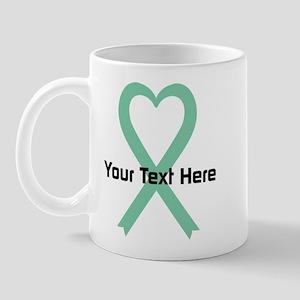 Personalized Light Green Ribbon Heart Mug
