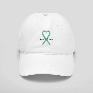 Personalized Light Green Ribbon Heart Cap