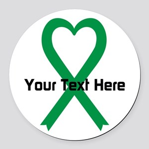 Personalized Green Ribbon Heart Round Car Magnet