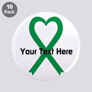 "Personalized Green Ribbon He 3.5"" Button (10 pack)"