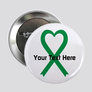 "Personalized Green Ribbon H 2.25"" Button (10 pack)"