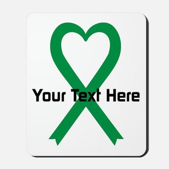 Personalized Green Ribbon Heart Mousepad
