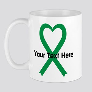 Personalized Green Ribbon Heart Mug