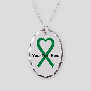 Personalized Green Ribbon Hear Necklace Oval Charm