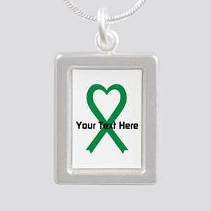 Personalized Green Ribbo Silver Portrait Necklace