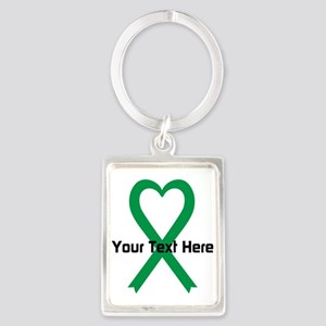 Personalized Green Ribbon Heart Portrait Keychain