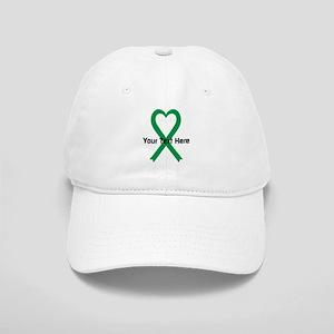 Personalized Green Ribbon Heart Cap