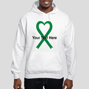 Personalized Green Ribbon Heart Hooded Sweatshirt
