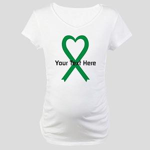 Personalized Green Ribbon Heart Maternity T-Shirt