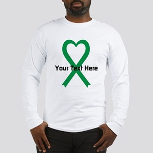 Personalized Green Ribbon Hear Long Sleeve T-Shirt