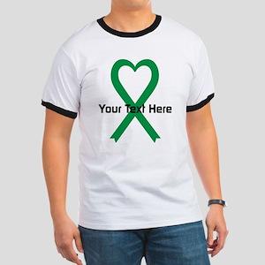 Personalized Green Ribbon Heart Ringer T