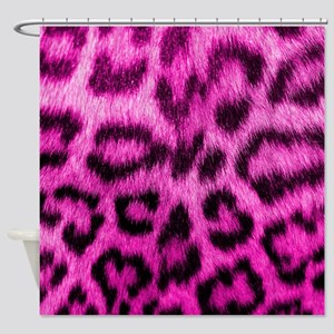 Pink Leopard Print Shower Curtain