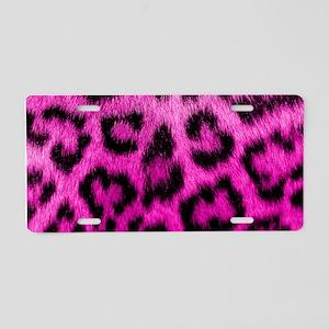 Pink Leopard Print Aluminum License Plate