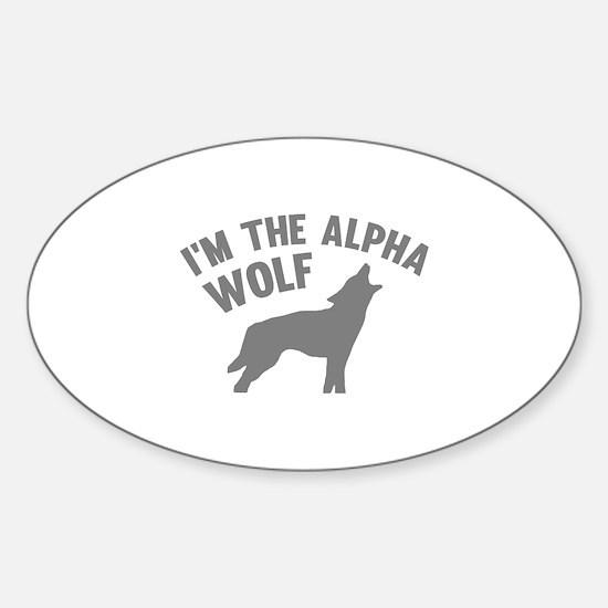 I'm The Alpha Wolf Sticker (Oval)