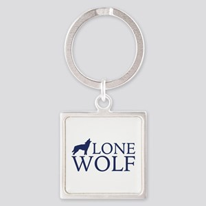 Lone Wolf Square Keychain