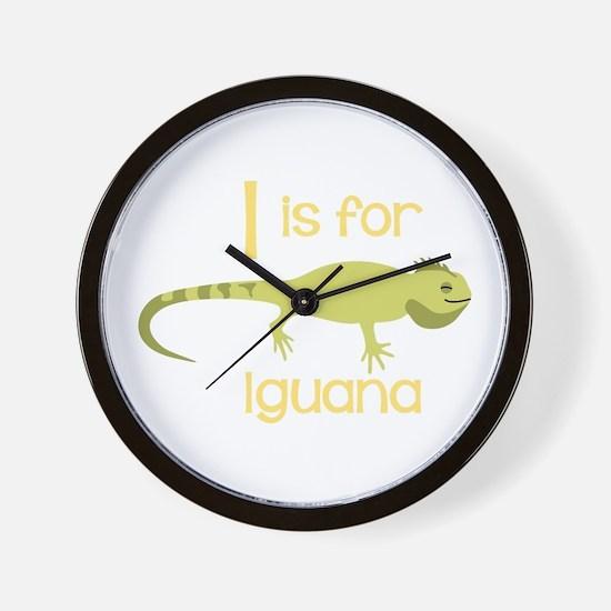 I Is For Iguana Wall Clock