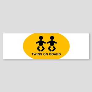 Twins-on board-oval_BB Bumper Sticker
