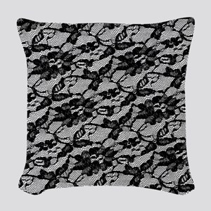 Black Lace Pattern Woven Throw Pillow