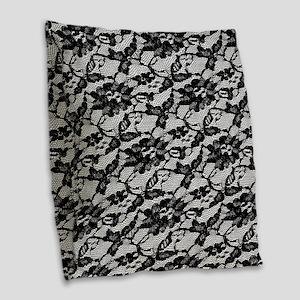 Black Lace Pattern Burlap Throw Pillow