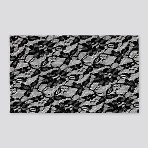 Black Lace Pattern 3'x5' Area Rug