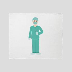 Male Surgeon Throw Blanket
