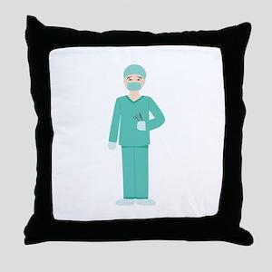 Male Surgeon Throw Pillow