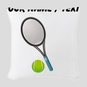 Custom Tennis Racket And Ball Woven Throw Pillow